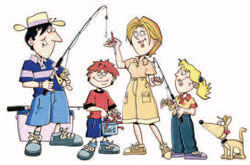 Fishing family cartoon drawing