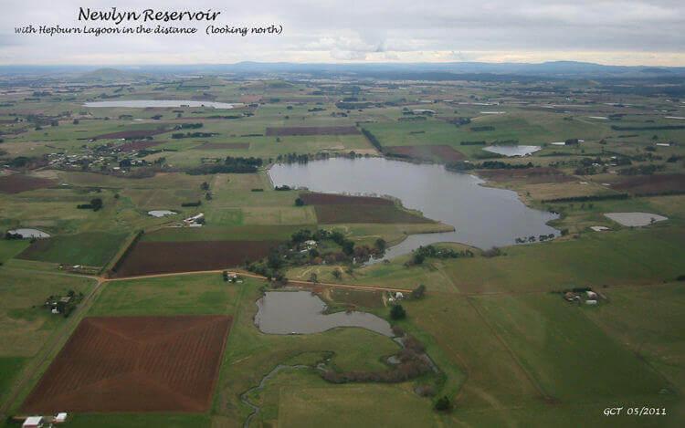Aerial  Newlyn Reservoir  near Creswick