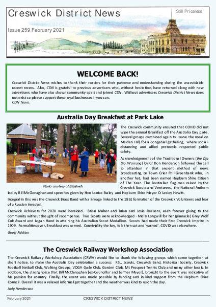 Creswick District News  - Download NOW